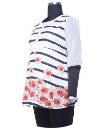 Kriti Three Fourth Sleeves Maternity Tunic Floral Print - White