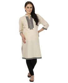 Kriti Ethnic Maternity Kurta With Chinese Collar - Off-White