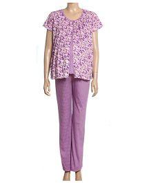 Uzazi Maternity Short Sleeves Nightwear Set - Dark Pink