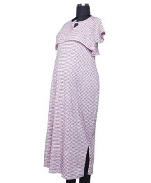 Kriti Comfort Knitted Nighty With Bib - Multicolor