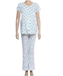 Maternity Uzazi Maternity Short Sleeves Nursing Nightwear Set - Blue