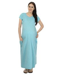 Kriti Comfort Short Sleeves Nighty With Patch - Aqua Blue