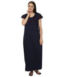 Kriti Comfort Short Sleeves Nighty With Peter Pan Collar - Navy Blue
