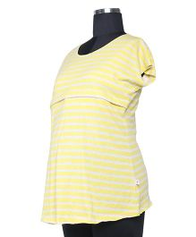 Kriti Western Maternity Half Sleeves Knit Top - Yellow