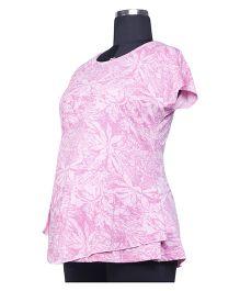 Kriti Western Maternity Short Sleeves Top - Pink