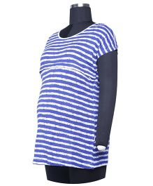 Kriti Western Maternity Half Sleeves Knit Top - Blue