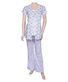 Maternity Uzazi Maternity Short Sleeves Nursing Nightwear Set - Lavender