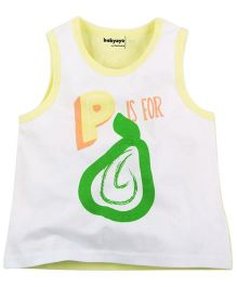 Babyoye P Is For Pear Print Sleeveless Vest - White & Yellow