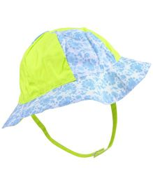 Babyoye Floral Print Cap With Velcro Strap - Blue Green