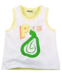 Babyoye P Is For Pear Print Sleeveless Vest - White & Yellow