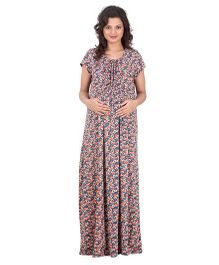 Uzazi Short Sleeves Maternity Nighty Floral Print - Orange