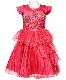 Ravechi Short Sleeves Party Tiered Dress - Red