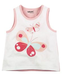 Babyoye Butterfly Print Sleeveless Vest - White And Baby Pink