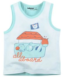 Babyoye All Aboard Printed Sleeveless Vest - White & Sky Blue