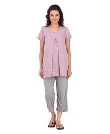 Uzazi Half Sleeves Maternity Night Wear - Pink