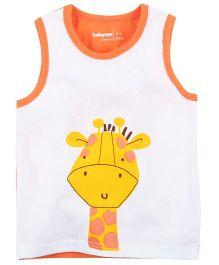 Babyoye Giraffe Face Print Sleeveless Vest - White & Orange
