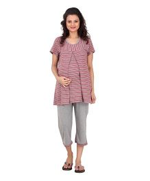 Uzazi Half Sleeves Maternity Night Wear - Red