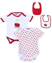 BabyPure Two Shorts Sleeves Onesies And Two Bibs Set - White Red