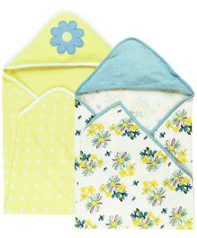 Babyoye Baby Hooded Wrapper Pack Of 2 - White Yellow