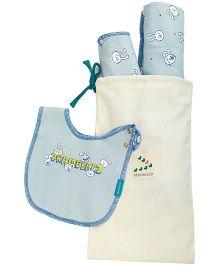 Zeezeezoo Bib Blanket And Burp Cloth Infant Accessory Set - Light Blue