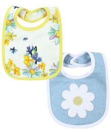 Babyoye Floral Theme Snap Button Bibs Pack Of 2 - Yellow Light Blue