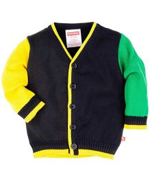 Fisher Price Apparel Full Sleeves Front Button Sweater - Black
