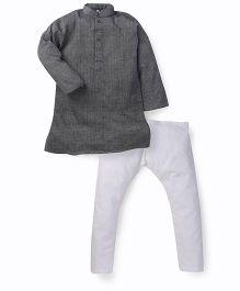 Lil' Posh Full Sleeves Kurta And Pajama - Black White