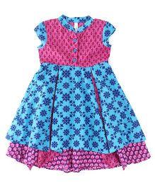 Lil'Posh Short Sleeves Dress Floral Print - Blue Pink