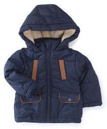M&M Full Sleeves Jacket With Fur Hood - Navy Blue