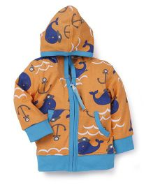 Snuggles Full Sleeves Hooded Jacket - Multicolor