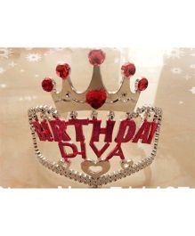 Funcart Birthday Diva Tiara - Silver Red