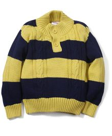 Fisher Price Apparel Full Sleeves Striped Sweater - Yellow & Navy