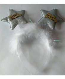 Funcart Happy Birthday Star Feather Hairband - Silver