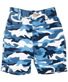 Mom&me Camo Printed Shorts With Pockets - Blue & White