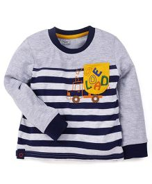M&M Full Sleeves T-Shirt Stripes Pattern - Grey And Navy