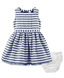 Carter's Striped Sateen Dress - White Navy