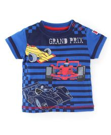 Babyoye Half Sleeves T-Shirt Grand Prix Print - Blue