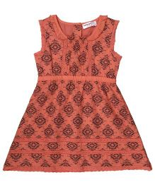 Babyoye Sleeveless Dress With Peter Pan Collar - Coral