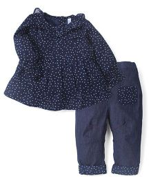 Lil'l Posh Full Sleeves Pleated Top & Jeans - Navy