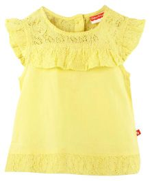 Fisher Price Apparel  Lace-Detailed Cap Sleeves Top - Yellow