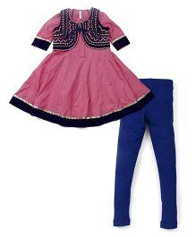 Lil' Posh Full Sleeves Kurti And Churidar With Jacket - Pink Blue
