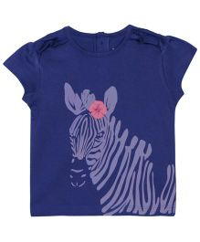 Baby Pure Cap Sleeves T-Shirt With Print - Blue