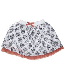Babyoye Printed Skirt - White & Grey