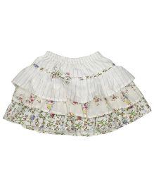 Babyoye Multi Print Skirt - Off White