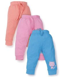 Snuggles Full Length Track Pants With Drawstring Pack of 3 - Blue Pink Peach