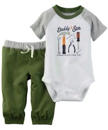 Carters Bodysuit With Pant - White And Green