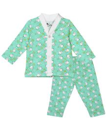 Baby Pure Full Sleeves Night Suit - Green