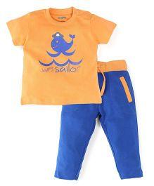 Snuggles Half Sleeves T-Shirt And Bottom Set - Blue Orange
