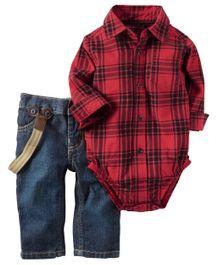 Carter's 2-Piece Button-Front Bodysuit & Denim Set