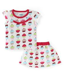 Snuggles Cap Sleeves Top And Skirt Cup Cake Print - Pink White